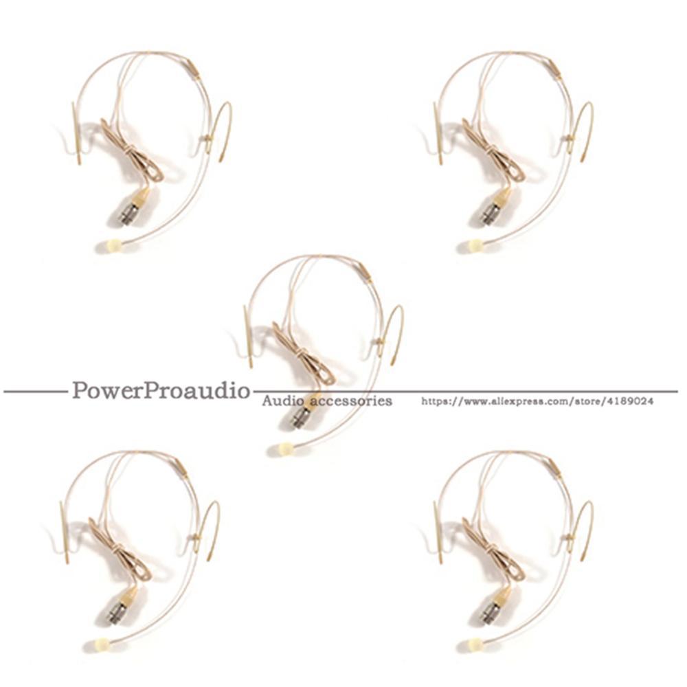 Auriculares de 5 piezas cabeza de micrófono con micrófono de 4 clavijas para Audio técnico inalámbrico