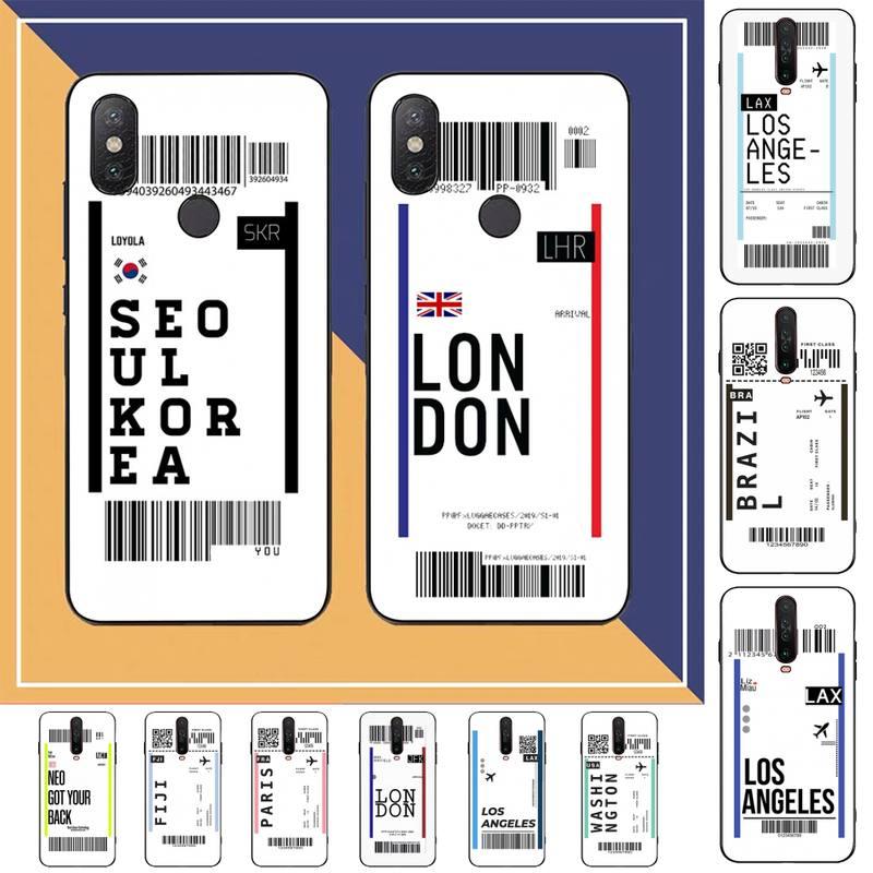 FHNBLJ Hot World City Dubai Singapore Paris Bangkok travel ticket label Phone Case for RedMi note 7 8 9 6 5 4 X pro 8T 5A
