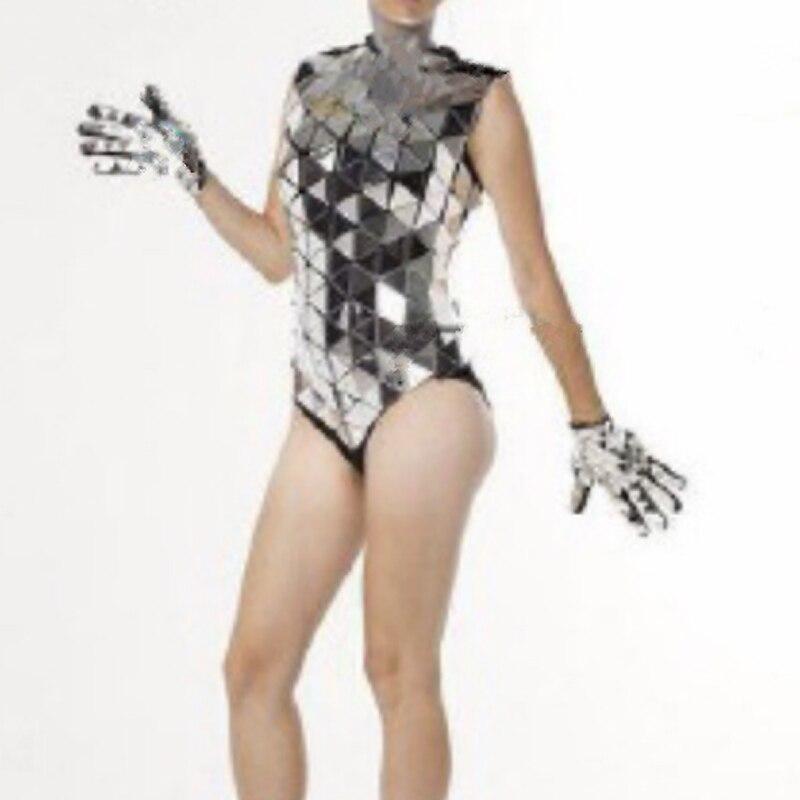 ملهى ليلي مرآة بذلة الإناث GOGO ملابس رقص الفضة المرايا قفازات لامعة بار DJ DS الزي الهذيان ديسكو المرحلة ارتداءها 1567