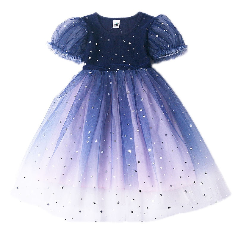 Princess Dress Children's Spring Summer Dress Girl's Birthday Party Dress Round Neck Mesh Dress WIth Puff Sleeves  - buy with discount