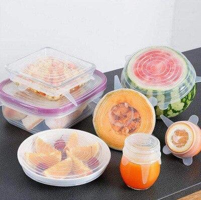 6 piezas de tapas elásticas para mantener el sello de alimentos cuenco reutilizable hermético envoltura elástica cubierta de cocina utensilios de cocina