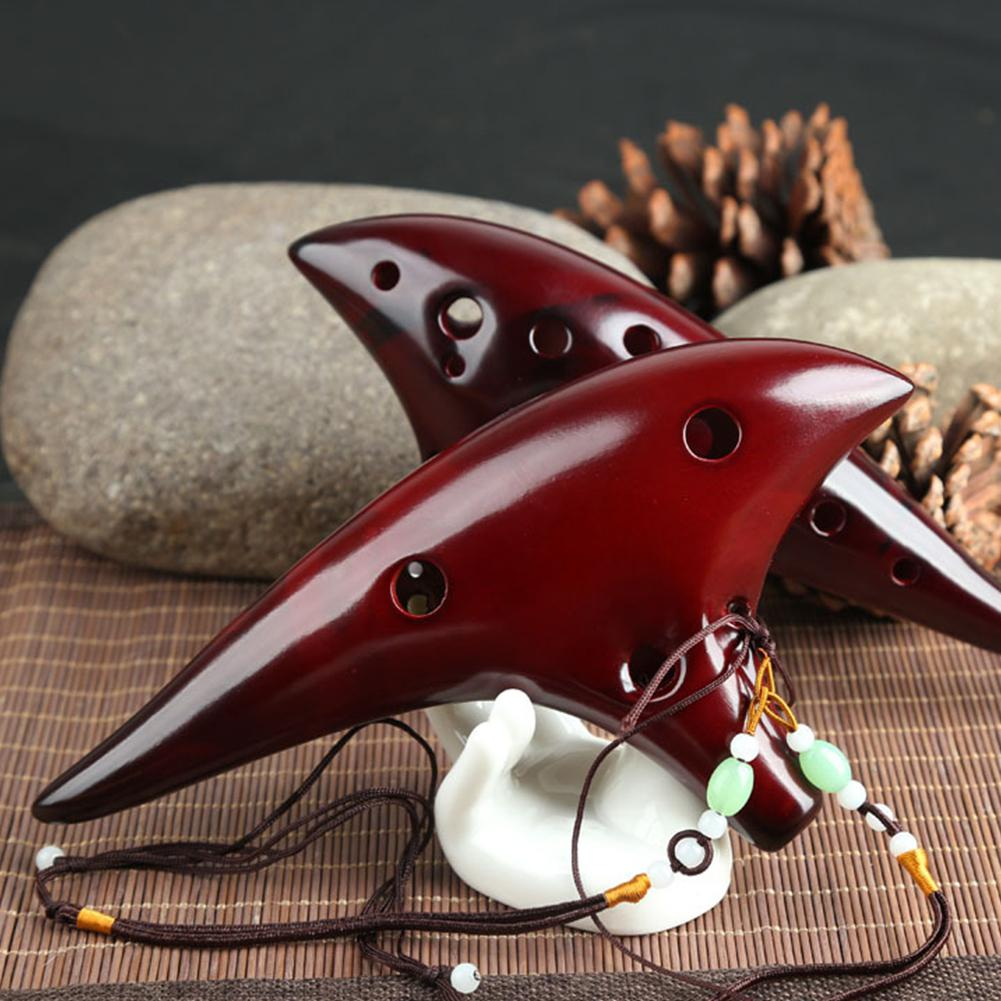 Classic 12 Hole Ceramic Ocarina Woodwind Instruments Flute with Protection Bag/Lanyard/textbook enlarge