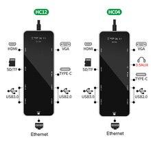 11in1 USB Tipo C Hub Adattatore per Macbook Air Pro Porta Ethernet, 4K HDMI, VGA, AUX3.5, Porte USB 3.0, lettore di Schede di DEVIAZIONE STANDARD TF, PD Carica Veloce