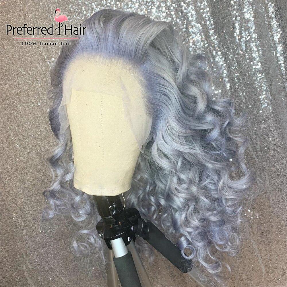 Tercih edilen gri dantel ön İnsan saç peruk ön koparıp Remy brezilyalı tutkalsız dantel ön peruk şeffaf dantel peruk kadınlar için