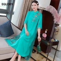 100silk dress 2021 spring summer vintage party women cute animal floral embroidery 34 sleeve mid calf whte green dress xxl