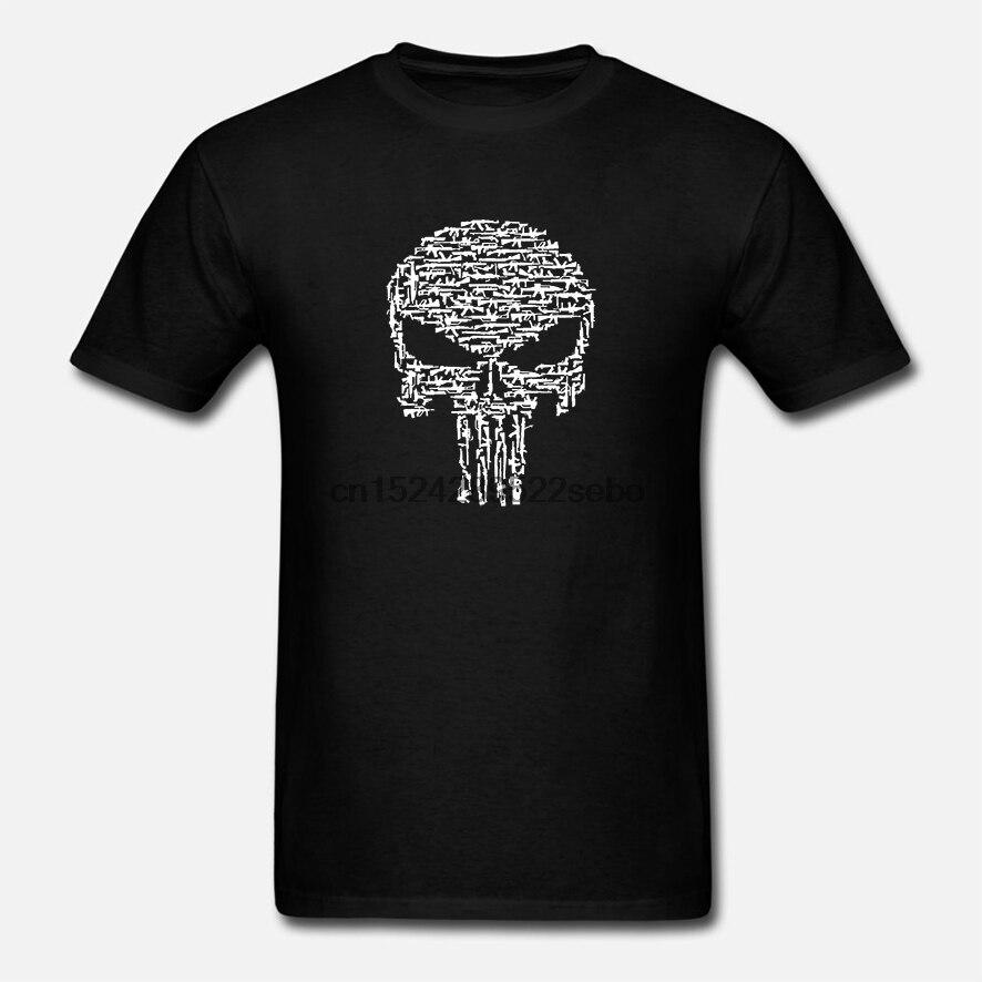 גברים חולצה אופנה אמריקאי המעניש-AR15-Ak47 גולגולת של רובים פרימיום מצחיק חולצה חידוש חולצת טי נשים