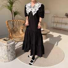 Корейский шикарный Винтажный кружевной лацкан французская элегантность стройнящее молодежное платье средней длины с коротким рукавом