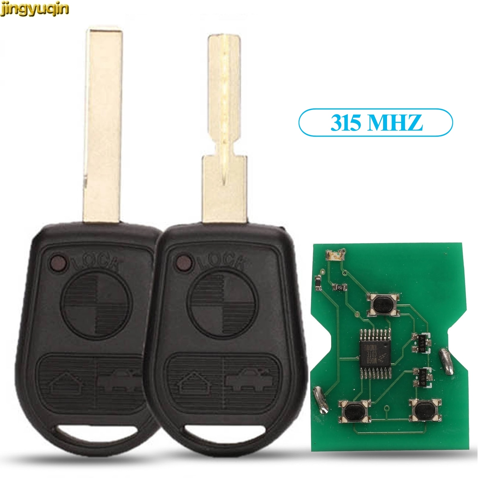 Jingyuqin controle remoto chave do carro 315 mhz para bmw z3 e31 e32 e34 e36 e38 e39 e46 3 botão de controle chave fob