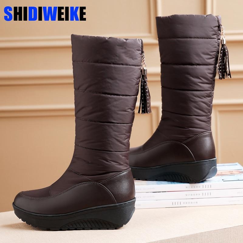2020 fourrure femme chaud neige bottes mi-mollet Slip-On femmes bottes frange hiver imperméable plate-forme chaussures Botas Mujer g660