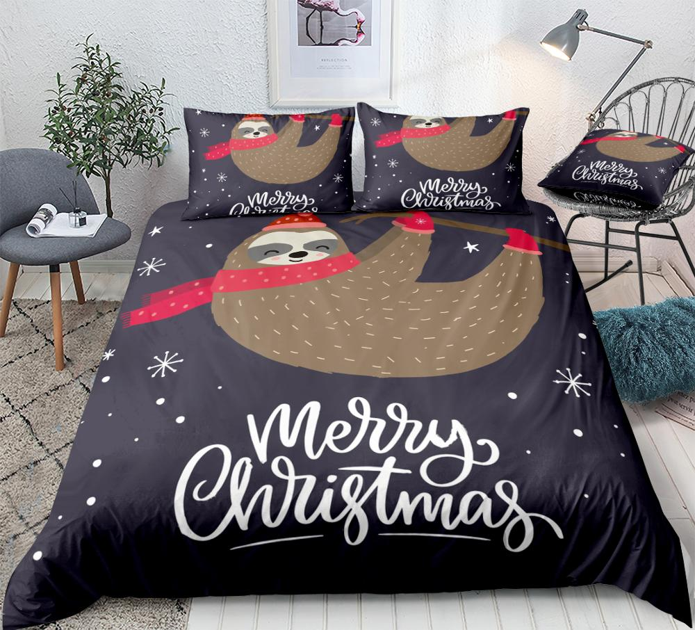 3 قطعة عيد الميلاد الكسل حاف مجموعة غطاء الفراش الكسل لطيف الاطفال الفتيان الفتيات الكرتون الحيوان غطاء لحاف سرير ملكة مجموعة الكسل دروبشيب