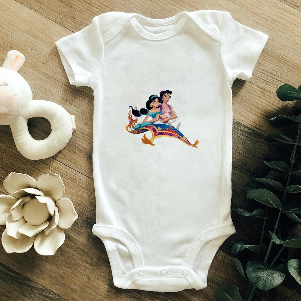 Disney's Aladdin Jasmine Princess Print Infant Jumpsuit Harajuku Fashion Short sleeve Baby Romper Streetwear Unisex Bodysuit