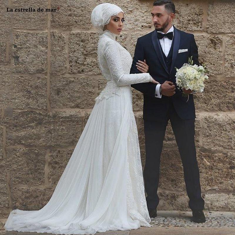 Musulmán vestido de boda de encaje con cuello alto y cuello de...