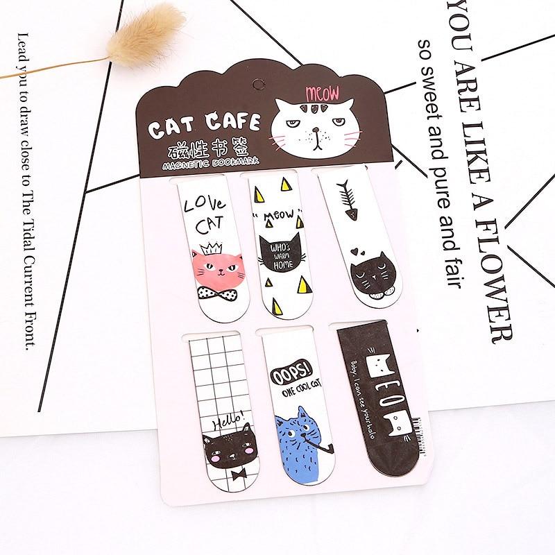 6 uds. De marcadores de Metal Kawaii, lindos marcadores de Cactus y gato, novedad, marcas de libros magnéticos para niños y niñas, regalos, material de oficina escolar