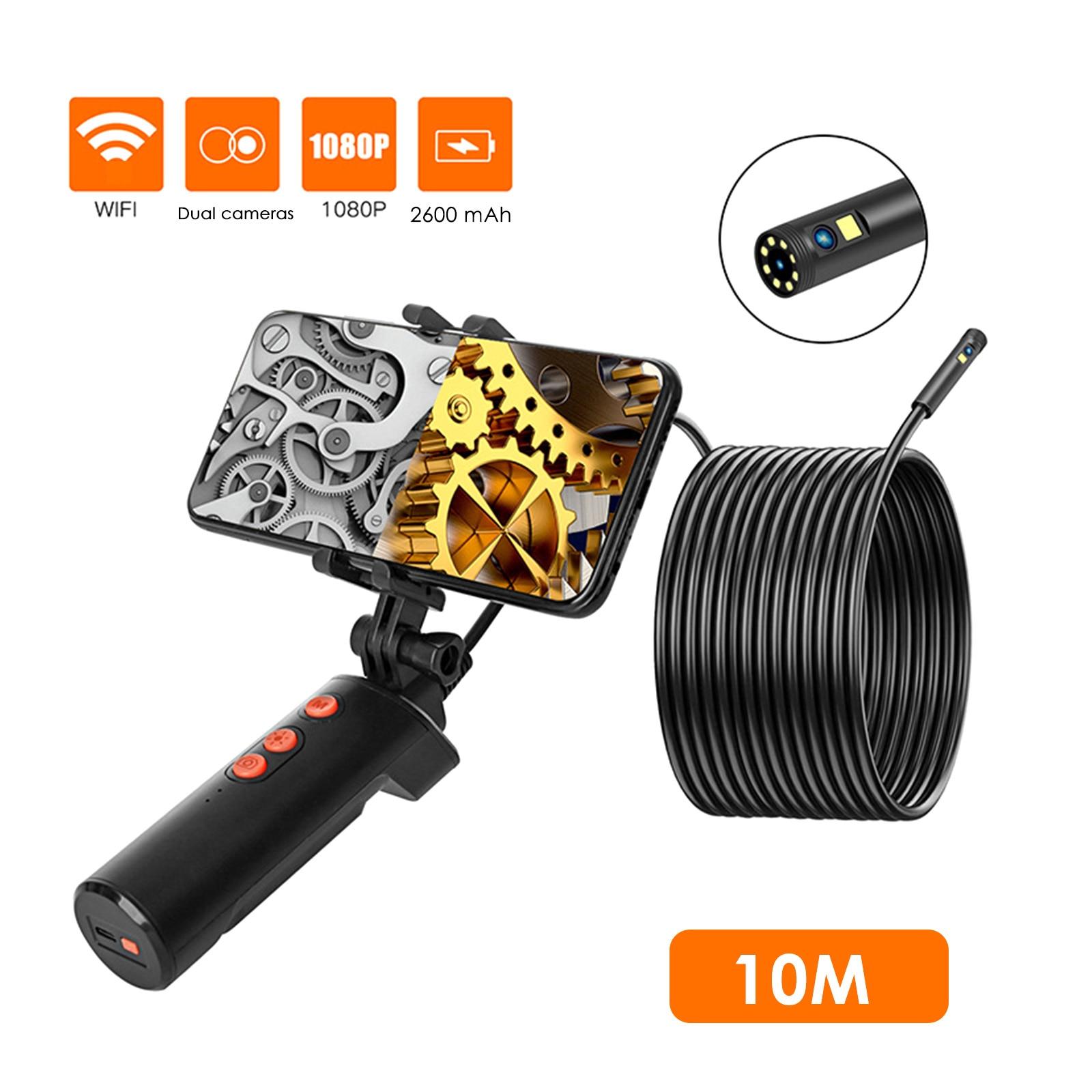 Duplas com Móvel 10m à Prova Dual Lens Câmera Inspeção Endoscópio 2m – 5m 9 d' Água Led 8mm 1080p Câmeras