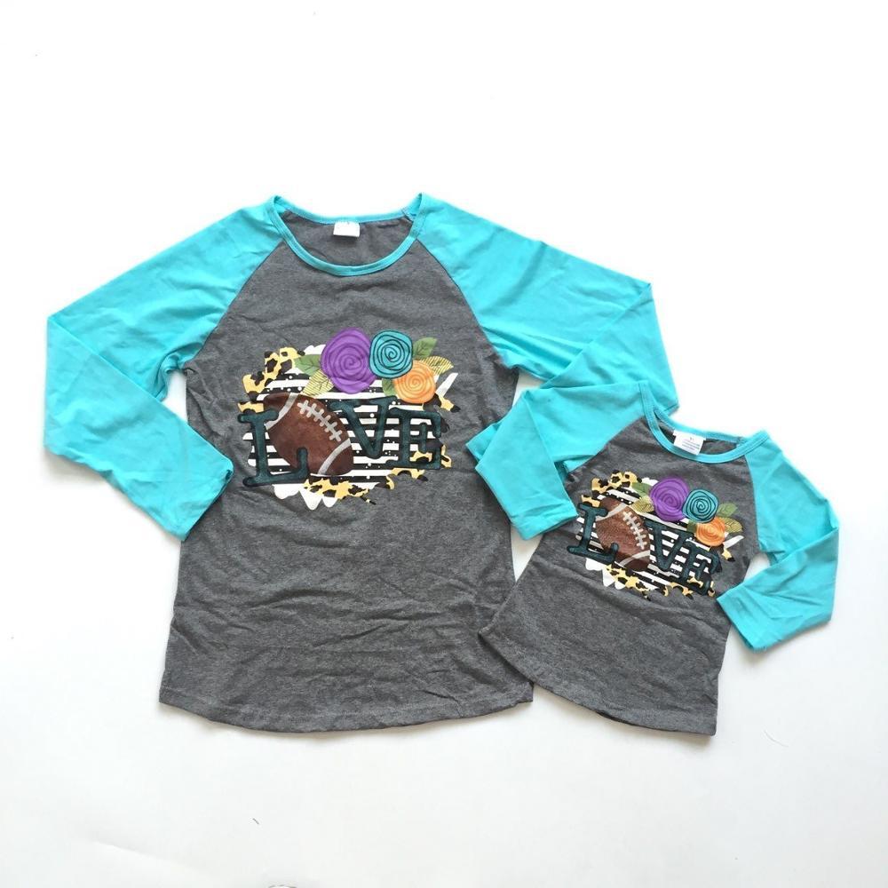 Mamá y Niñas Ropa de otoño raglans ropa de Juego de Pelota niños camisetas de fútbol gris raglans con manga larga azul