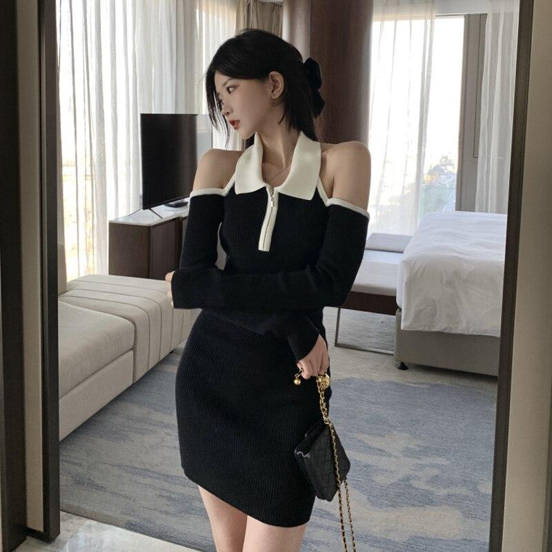 Vestido de punto para mujer, falda de corte ajustado, Sexy, con hombros descubiertos, largo medio, paquete de cintura alta, primavera 2021