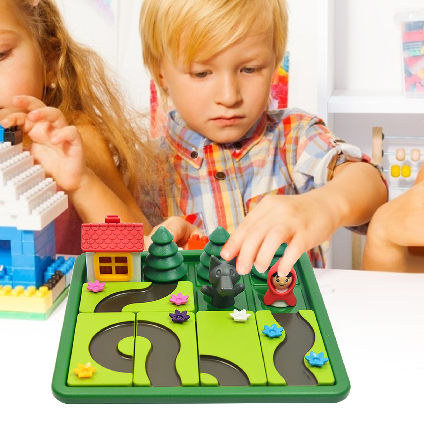 لوحة القيادة مع غطاء أحمر صغير وولف سيئة ، تخليص ذكاء الوالدين والطفل ، حل لعبة الألغاز ، لعبة المنطق