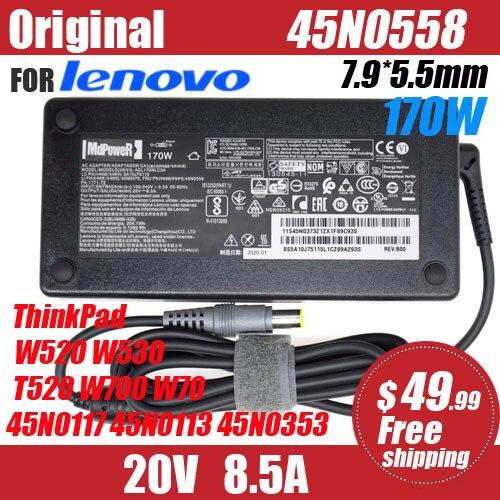 Original 20V 8.5A 170W 7,9*5,5mm adaptador de CA del ordenador portátil para Lenovo ThinkPad W520 W530 T520 W700 W70 45N0117 45N0113 45N0353 42T5284