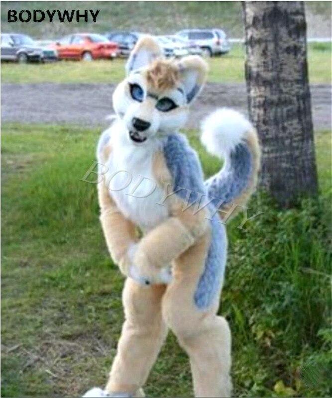 Furry Husky perro Fursuit mascota traje de piel sintética traje Cosplay fiesta vestido Halloween en tamaño para adultos decoraciones al aire libre