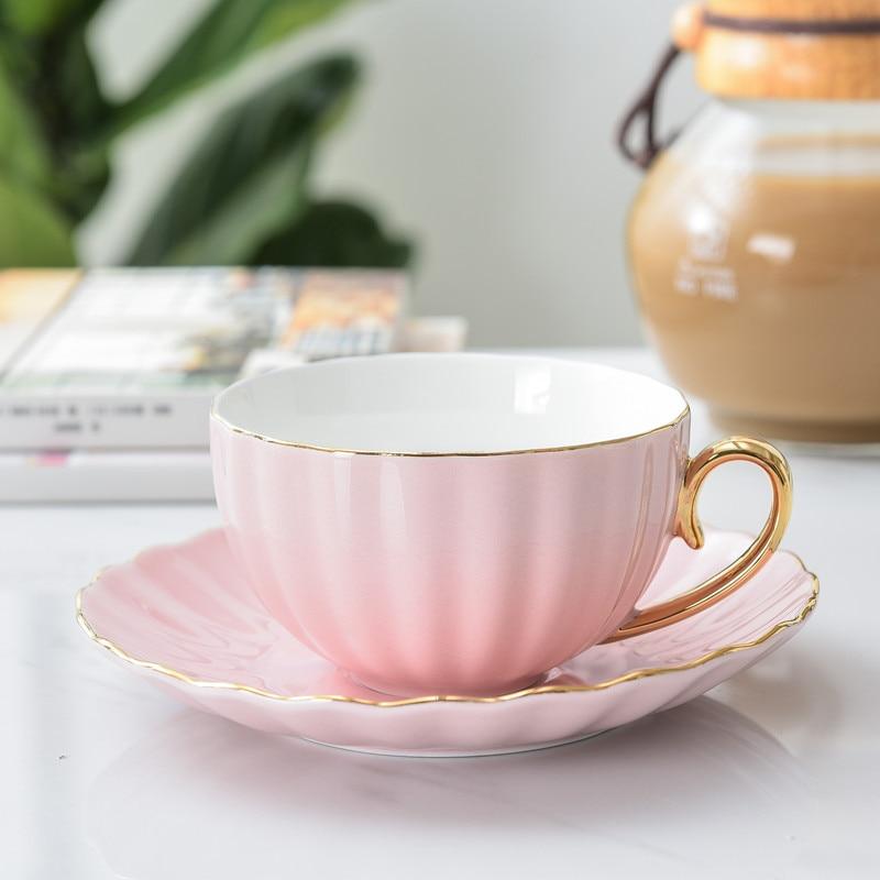 Pink Cute Creative Porcelain Cup and Saucer Ceramics Simple Tea Sets Modern Design Coffee Cups Tazas Para Cafe
