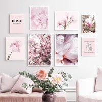 pink magnolia peony flower home quotes wall art canvas painting nordic posters and prints wall pictures for living room decor