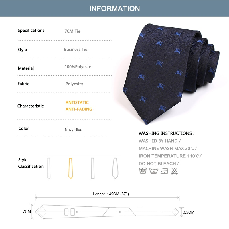 Brand New Men Fashion Formal Dress Shirt Tie High Quality 7CM Navy Blue Ties for Men Business Work Necktie with Gift Box