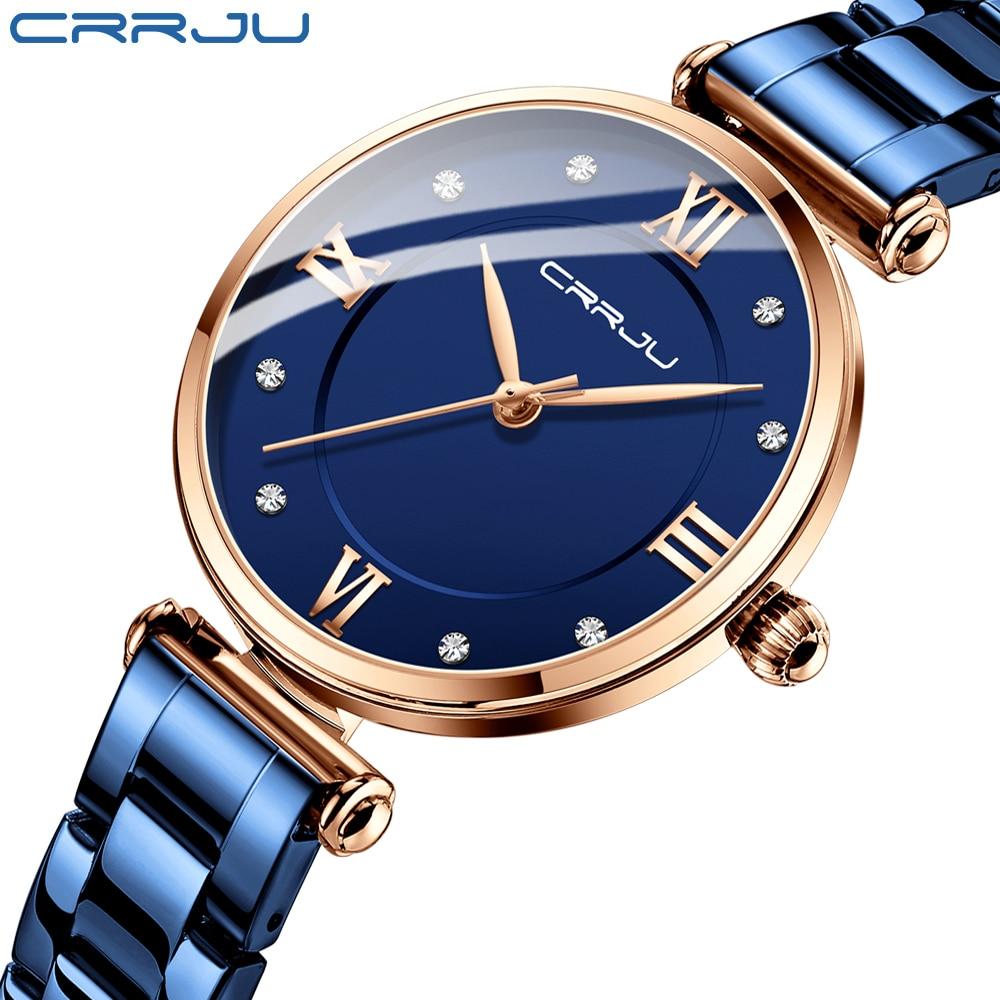 CRRJU-ساعة فاخرة زرقاء للنساء ، كرونوغراف نسائي ، مقاومة للماء ، كوارتز ، ستانلس ستيل