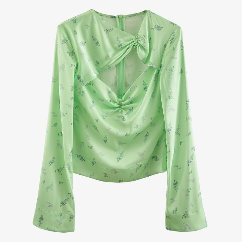Otoño de las mujeres Sexy retorcido plisado Floral impresión verde manga camisa Sim de moda Top de vacaciones Club Chic abrigo marea