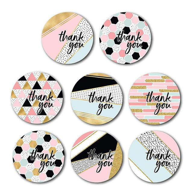 500 PCS Thank You Stickers Per Roll 1 inches Modern Thank You Stickers 8 Different Designs 8