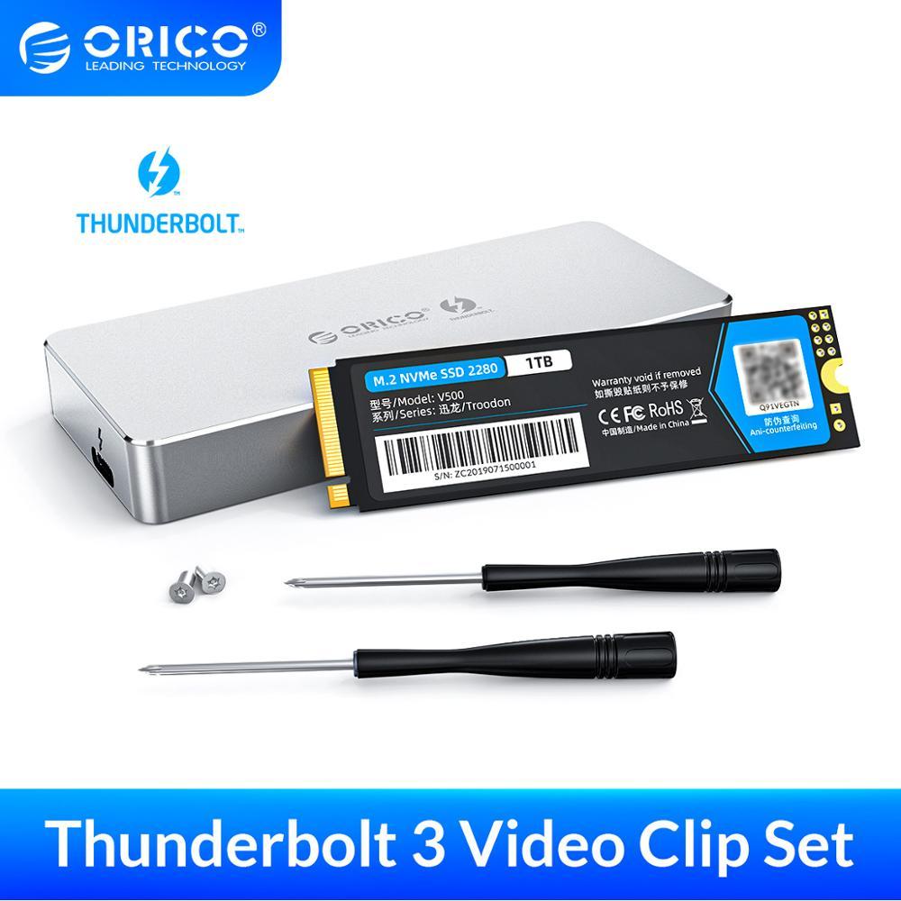 ORICO-SSD محمول ، Thunderbolt 3 ، 40 جيجابت في الثانية ، NVME M.2 ، SSD 1 تيرا بايت ، PSSD ، ألومنيوم ، Type-C ، مع كابل Thunderbolt 3 C إلى C لمشبك فيديو 4K