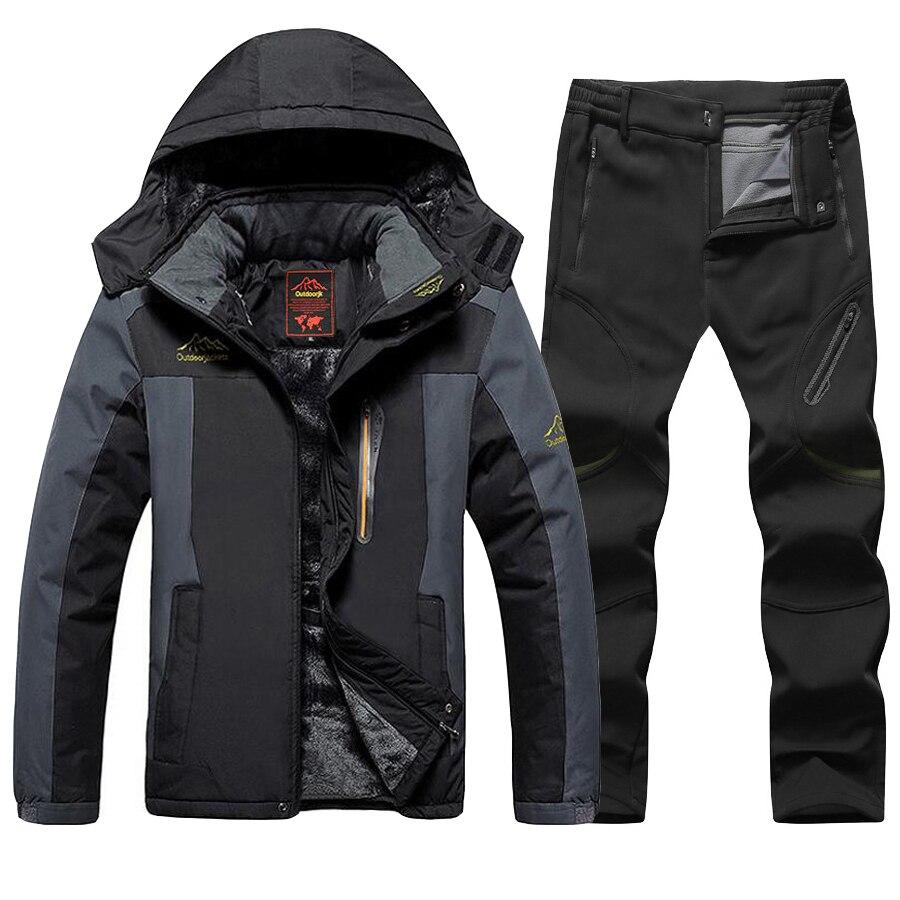 Зимний лыжный костюм размера плюс, Мужская водонепроницаемая флисовая лыжная куртка, штаны, утолщенная теплая уличная зимняя Лыжная и сноу...