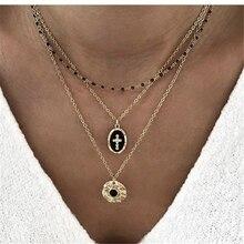جديد عصري الصليب دنت سبائك قلادة قلادة أسود اللون النفط الراتنج سلسلة بسيطة متعددة الطبقات قلادة مجوهرات تصميم جديد