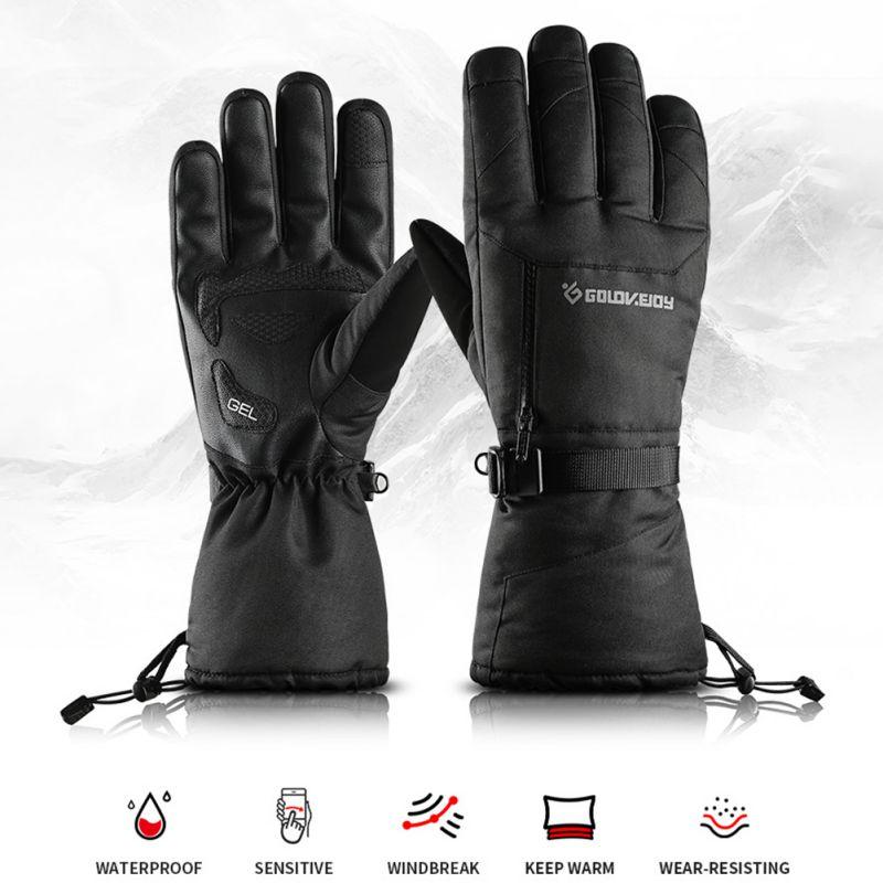 Guantes de esquí Unisex de invierno al aire libre ciclismo de cuatro capas de bolsillo impermeable pantalla táctil antideslizante guantes de terciopelo caliente