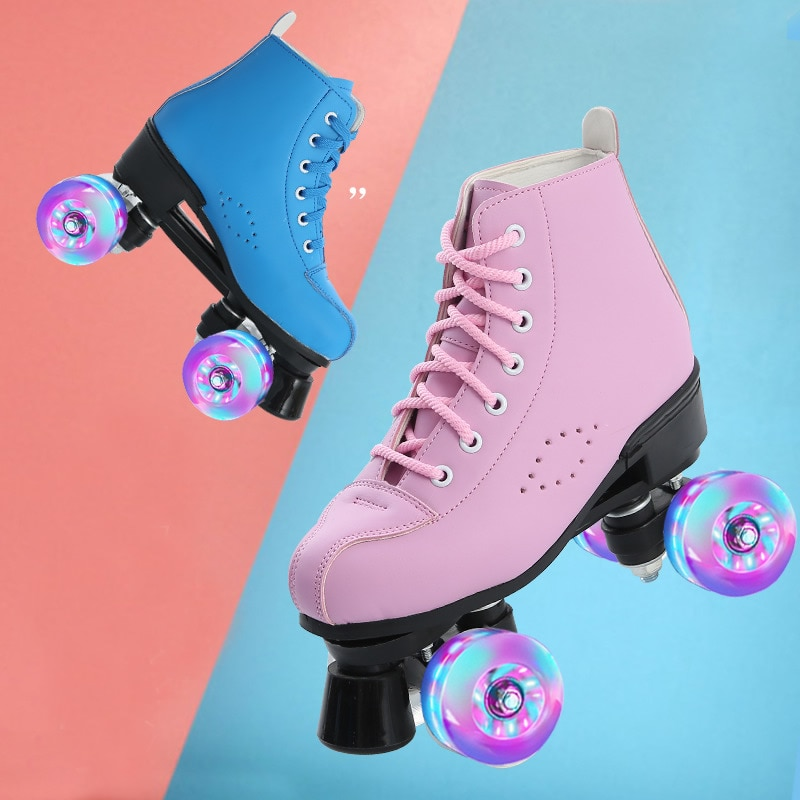 roller-skates-pink-blue-double-row-roller-skates-4-wheel-skates-for-girls-base-wheels-pu-shoes-wheels-shipping-skating-rollers