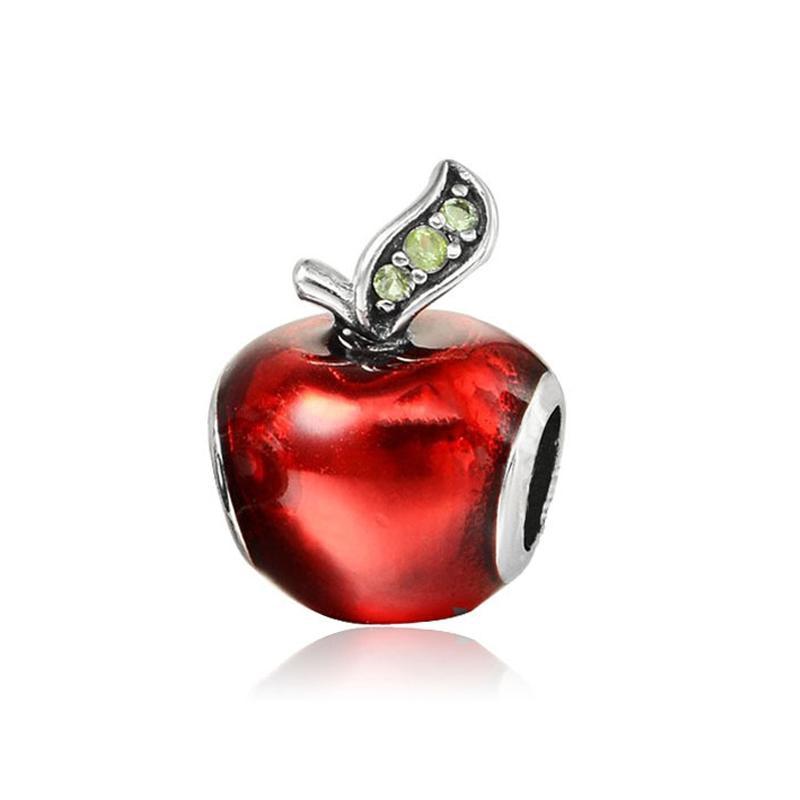 Snow White Apple Charm Red Enamel & Light Green CZ Bead Enamel Charms Fit Original Pandora Bracelets Women Diy Jewelry