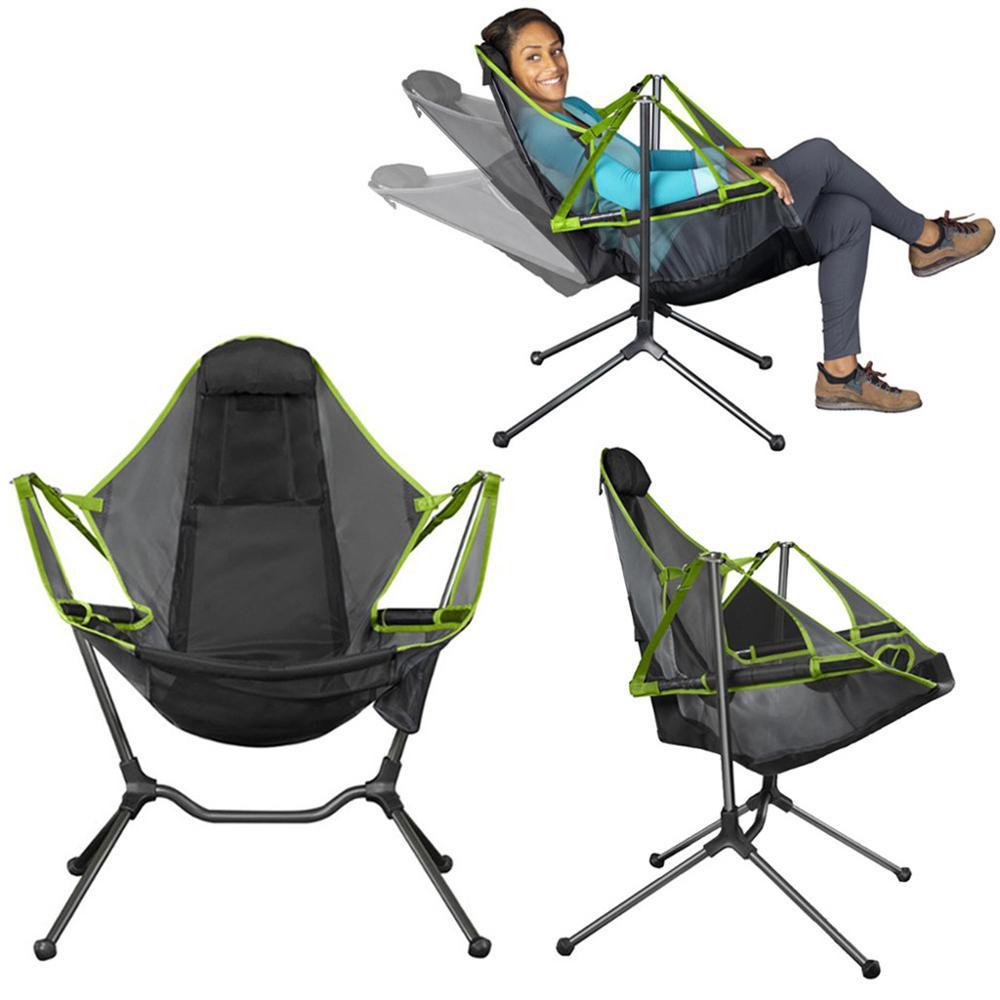 Silla plegable al aire libre silla Columpio de jardín playa Luna silla con almohada para Camping pesca ultraligera silla portátil
