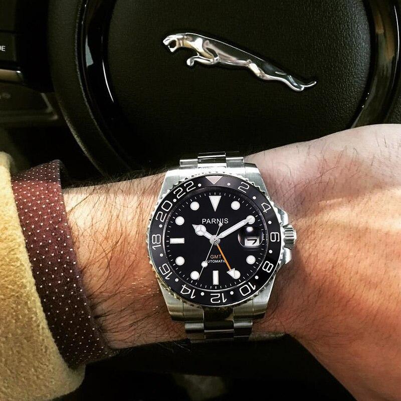 Parnis 40mm Sterile Dial Automatic Mechanical Men's Watches Stainless Steel Strap GMT Diver Men Watch saatler mekanik Man Clock