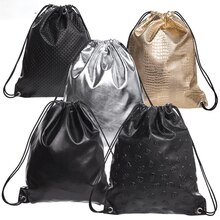 Womens Skull PU Leather Drawstring Backpack Gym Travel String Bag Casual Daypack School Bags