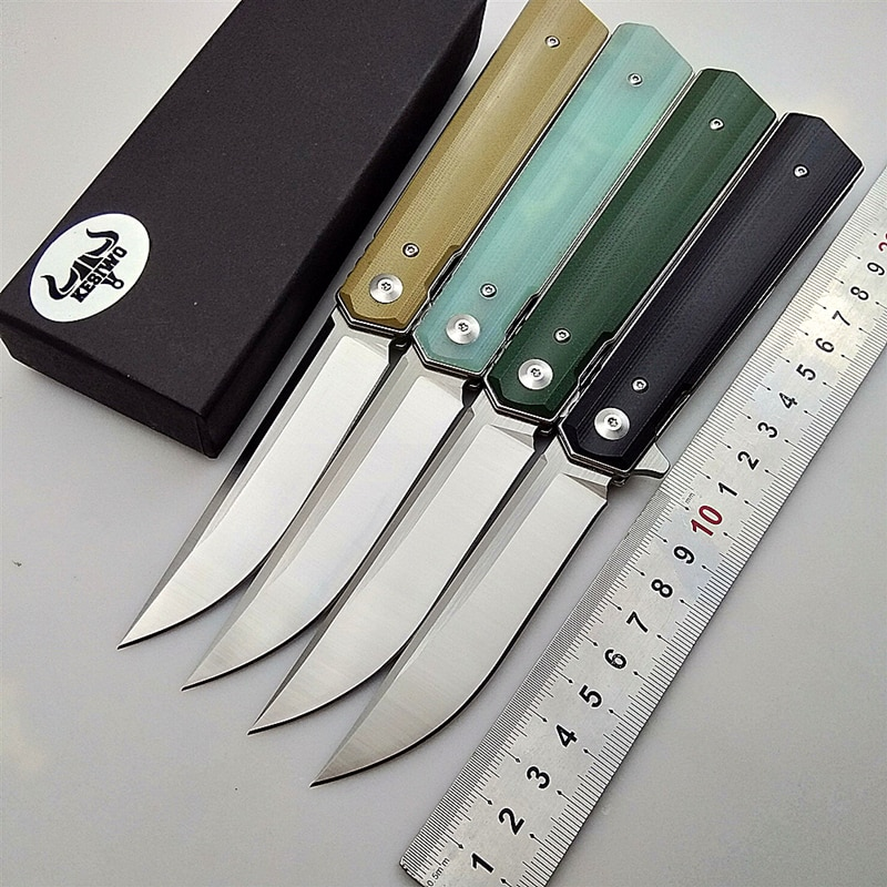 Cuchillo plegable KESIWO, cuchillos de rescate de supervivencia tácticos para acampada, cuchillos básicos de caza 9cr18mov, hoja G10, mango, flipper, herramientas de utilidad