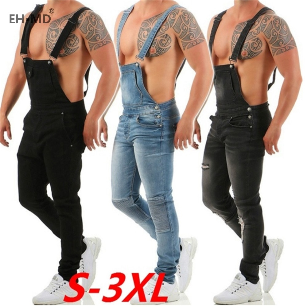 EH·MD® One-piece Overalls Jeans Men's Hole Scratched Black Trousers Popular Work Pants Slim Feet Wild Fashion Strap Comfortable