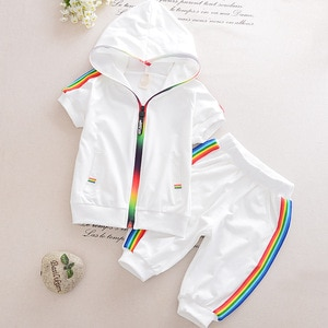 2020 New Boys and Girls Sports Suit Summer Short Sleeve Baby Hooded Zipper Top Black and White Two Piece Suit Fashion