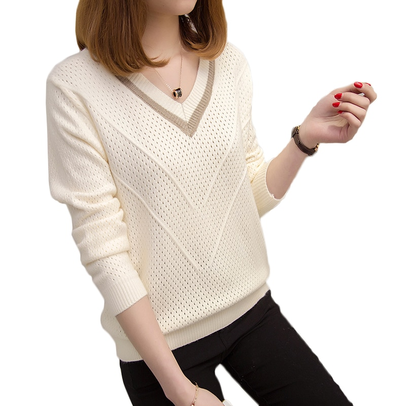 women hooded sweater km083 2020 fashion letter pattern long pullovers female autumn winter sweaters loose knitting tops 2020 Autumn Winter Sweater Women Pullovers Warm Hollow Sweaters Women Loose Knitted Sweater Female V-neck Small Fresh Sweater