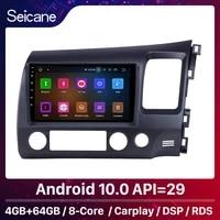 seicane 464gb android 10 0 car radio 9 inch for 2006 2011 honda civic rhd gps hd carplay support obd2 rearview camera wifi