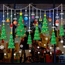 ميلاد سعيد عيد الميلاد شجرة ملصقات جدار لمتجر زجاج النافذة ديكورات ندفة جرس المنزل ديكورا اكسسوارات PVC DIY جدارية المشارك
