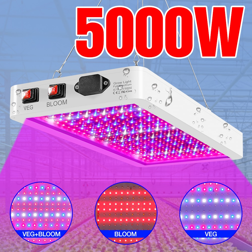 AliExpress - 100-277V LED Waterproof Plant Grow Light Indoor LED Full Spectrum Phyto Fito Lamp 4000W 5000W Dimmable Bulb Flower Seeds Growth