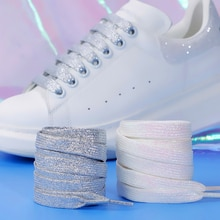 Glitter White Shoelaces of sneakers Colorful Shoelaces Metallic Shiny gold shoelace silver Flat shoe