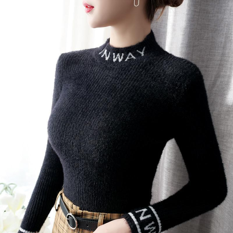 Mink like women's sweater 2020 new half high neck slim fit with foreign style white bottom coat enlarge