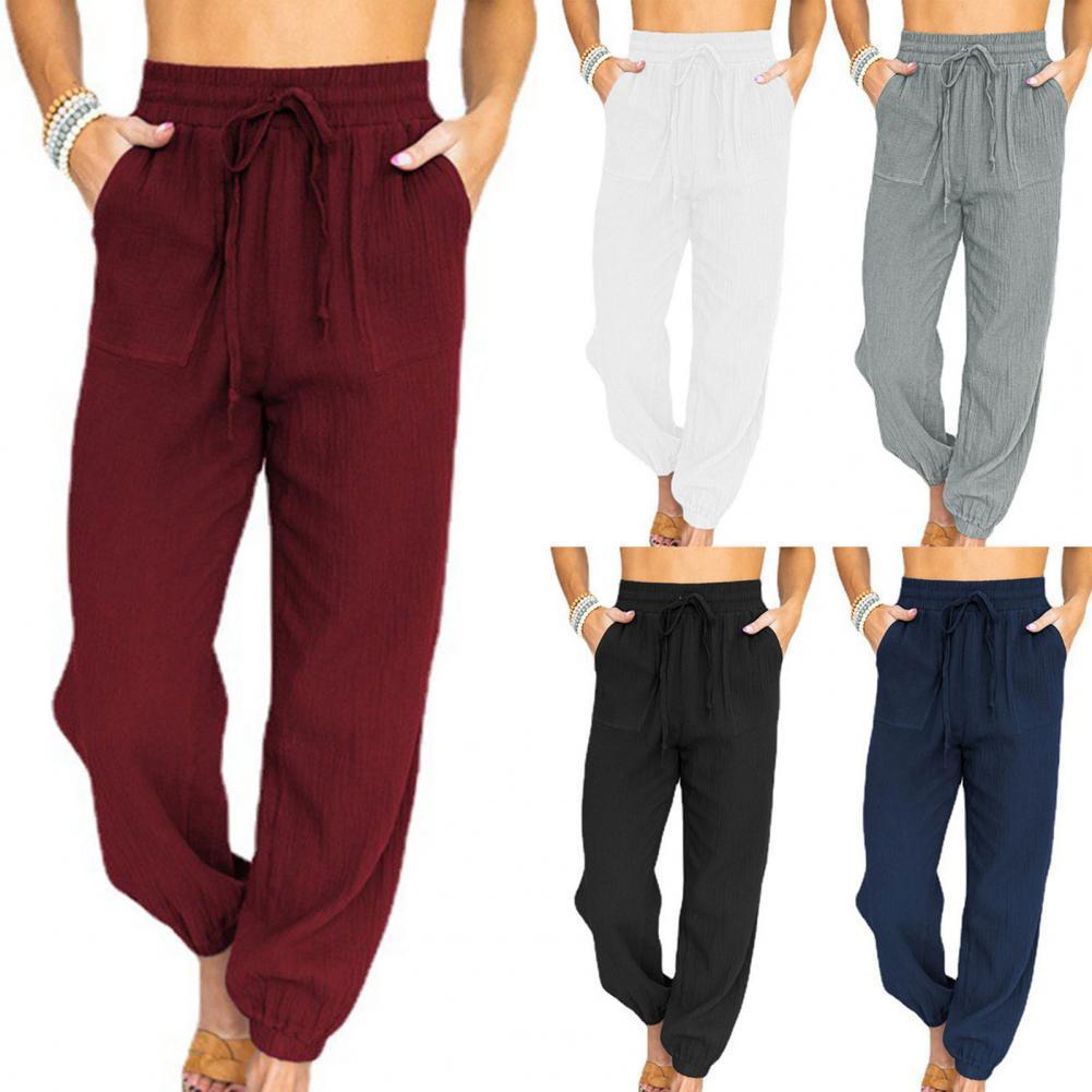 Брюки однотонные с карманами тонкие однотонные женские брюки для спорта женские брюки тонкие брюки черные белые брюки