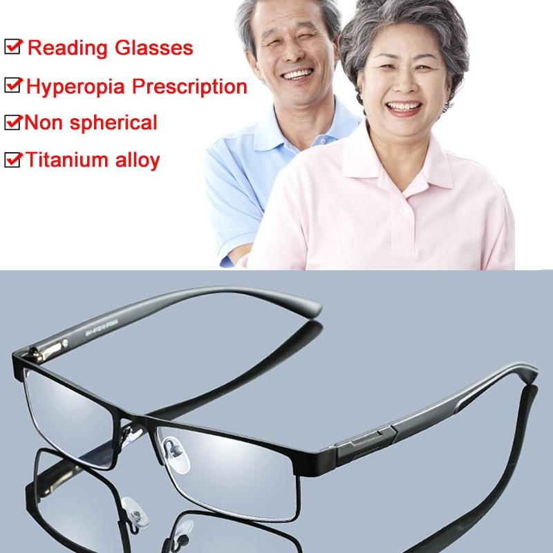 + 1,0 a + 4,0 no esférico 12 capas de lentes recubiertas hombres de negocios de aleación de titanio gafas de lectura hipermetropía gafas graduadas