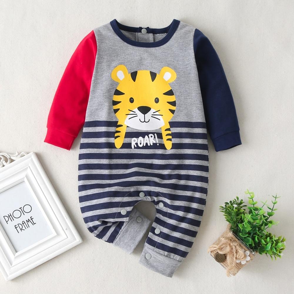2020 roupas de bebê recém-nascido da criança infantil meninos roupas listras manga longa tigre macacão algodão uma peça casual outfit